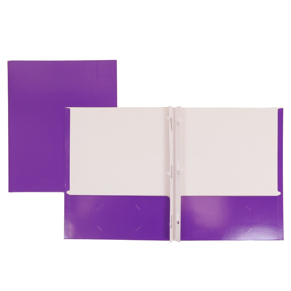 Image of 2 Pocket Paper Folder with Prongs Purple - Pallex
