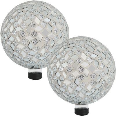 "Mirrored Diamond Mosaic 10"" Gazing Globe Ball - Set of 2 - Sunnydaze Decor"
