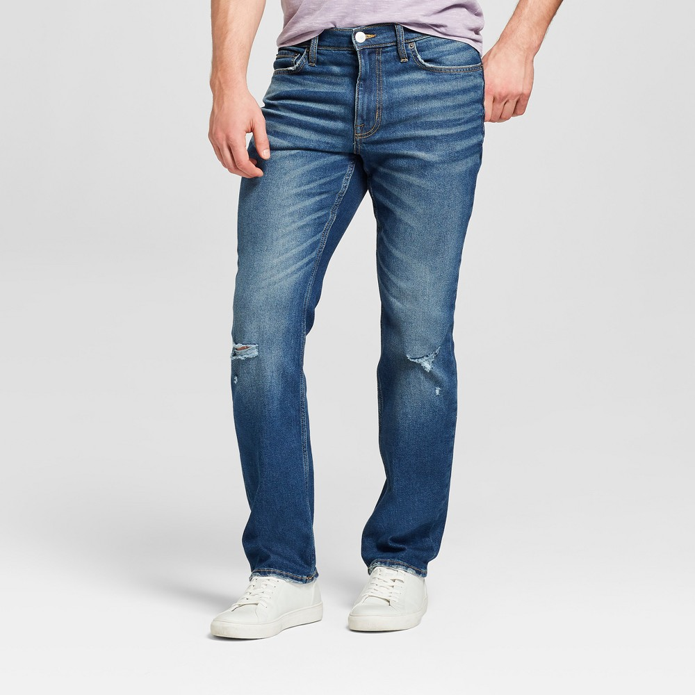 Men's Slim Straight Fit Jeans with Coolmax - Goodfellow & Co Medium Vintage Wash 34x34, Blue
