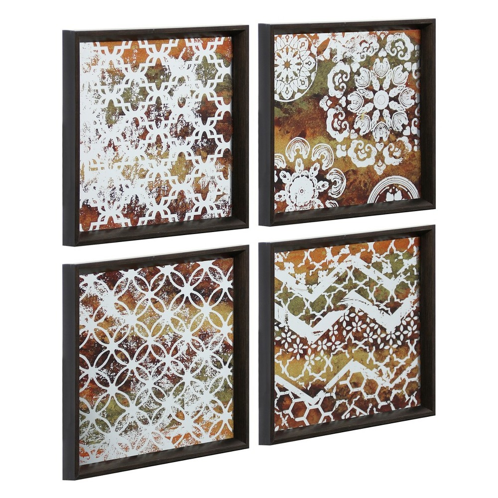 "Image of ""12.8"""" 4pc Stenciled Work Decorative Wall Art Silver - StyleCraft"""