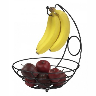 Home Basics Wire Collection Fruit Bowl with Banana Tree, Black