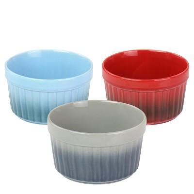 Crock Pot 8 Ounce Thornburg 3 Piece Stoneware Assorted Ramekin Dish Set