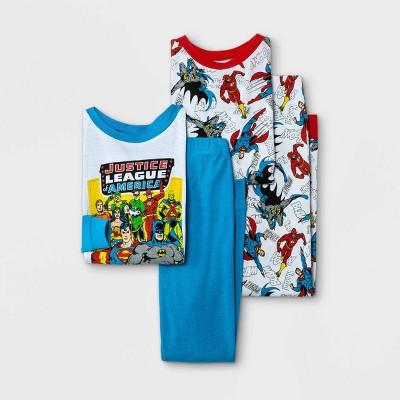 Boys' Justice League 4pc Pajama Set - Blue