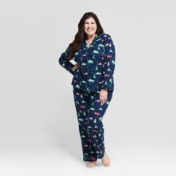 Women's Plus Size Holiday Car Flannel Pajama Set - Wondershop™ Navy
