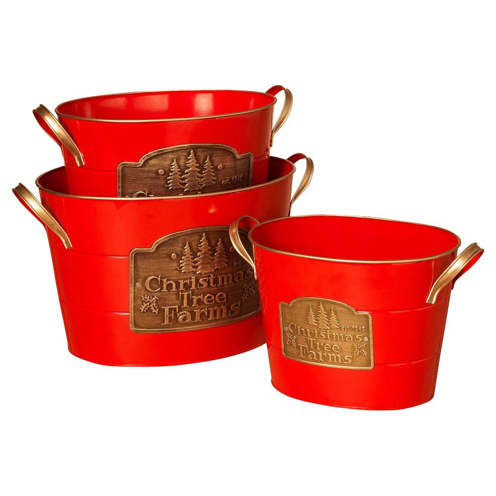Christmas Tree Farm Oval Buckets With Handles Red 3ct