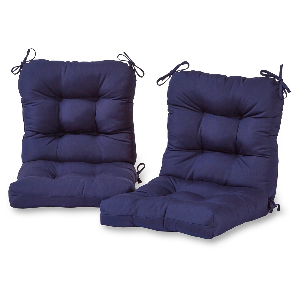 Set of 2 Outdoor Seat/Back Chair Cushion - Navy (Blue) - Greendale Home Fashions