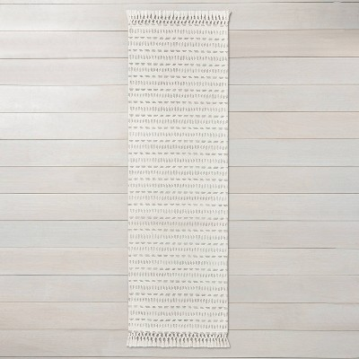 "2'4"" x 7' Pattern Stripe Runner Jet Gray / Sour Cream - Hearth & Hand™ with Magnolia"