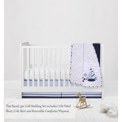 Bacati - Little Sailor Anchor Boat Blue Navy 3 pc Crib Bedding Set