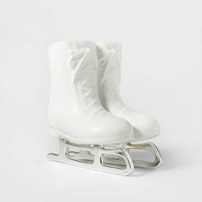 Ceramic Standing Ice Skates Decorative Figurine White - Wondershop™