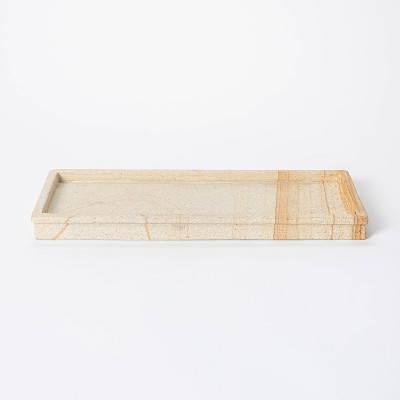 "16"" Decorative Wood Stone Tray Natural - Threshold™ designed with Studio McGee"