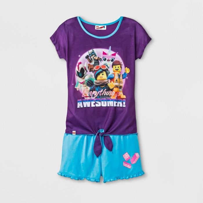 Girls' The LEGO Movie 2pc Pajama Set - Purple - image 1 of 1