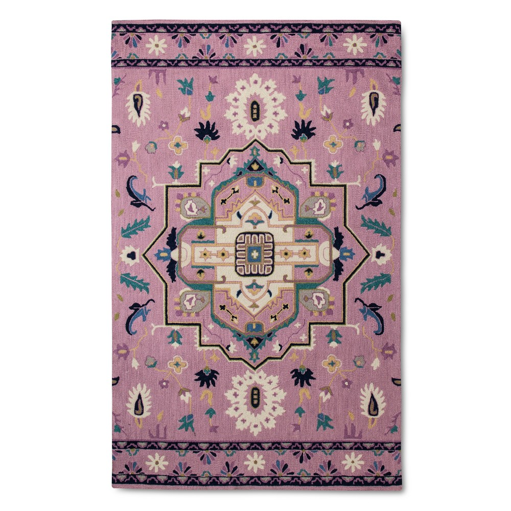 Pink Hand-Hooked Medallion Area Rug - (7'x10')