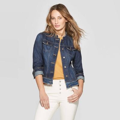 f13e037ecb Women s Collarless Fashion Denim Jacket - Universal Thread™ Medium Wash