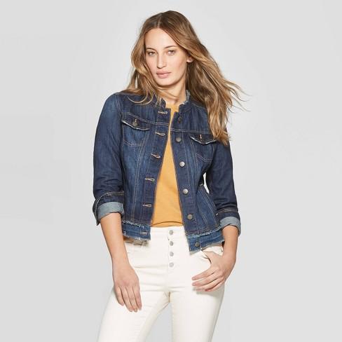 Women's Collarless Fashion Denim Jacket - Universal Thread™ Medium Wash XXL - image 1 of 3