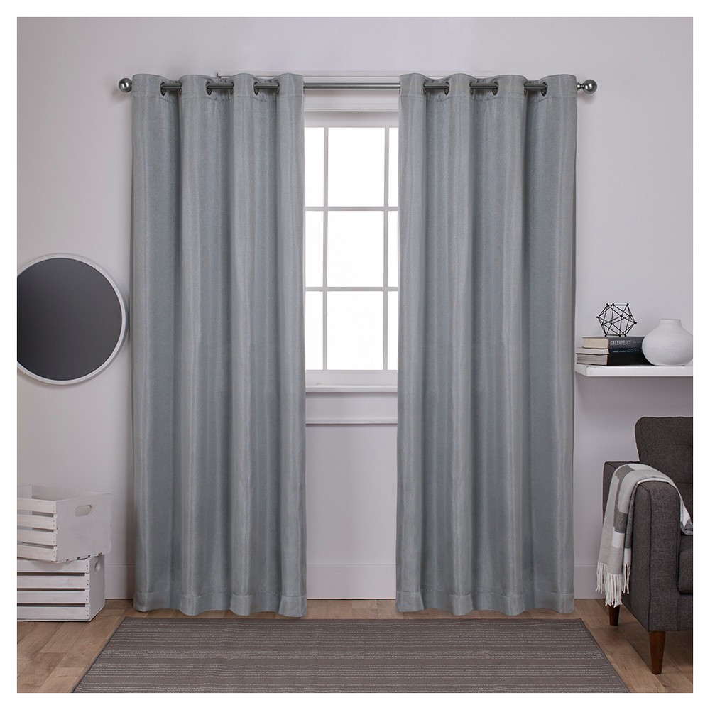 """Image of """"Carling Woven Blackout Curtain Panels Aqua (52 X 108"""""""") - Exclusive Home, Size: 52""""""""x108"""""""", Blue"""""""