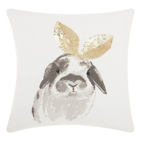 Gold Rabbits Throw Pillow - Mina Victory - image 1 of 4