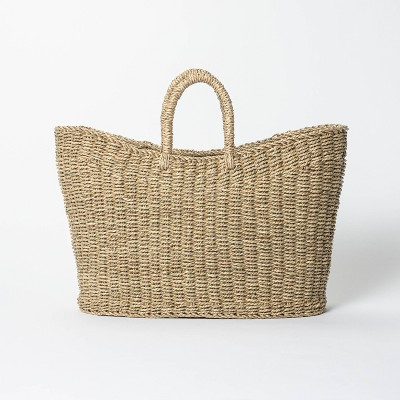 """19"""" x 9"""" x 16"""" Tapered Oval Seagrass Basket Natural - Threshold™ designed with Studio McGee"""