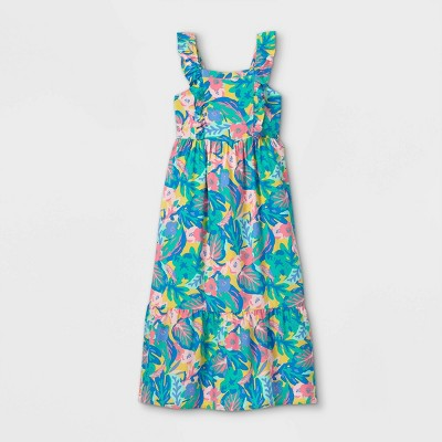 Girls' Floral Maxi Flutter Sleeve Dress - Cat & Jack™