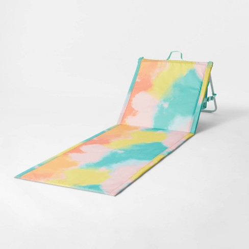 Folding Portable Beach Lounger - Blue Tie Dye - Sun Squad™ - image 1 of 4