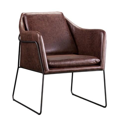 Enjoyable Keelin Faux Leather Accent Chair Brown Aiden Lane Creativecarmelina Interior Chair Design Creativecarmelinacom