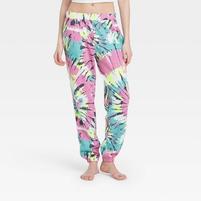 Women's Tie-Dye Fleece Lounge Jogger Pants - Colsie™ Pink