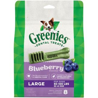 Greenies Large Natural Dog Dental Care Chews Oral Health Dog Treats Blueberry Flavor - 12oz