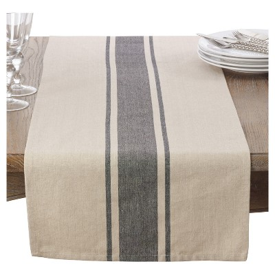 Light Brown Classic Banded Stripe Table Runner (16 x72 )- Saro Lifestyle®