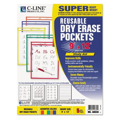 C-Line Reusable Dry Erase Pockets 9 x 12 Assorted Primary Colors 5/Pack 40630