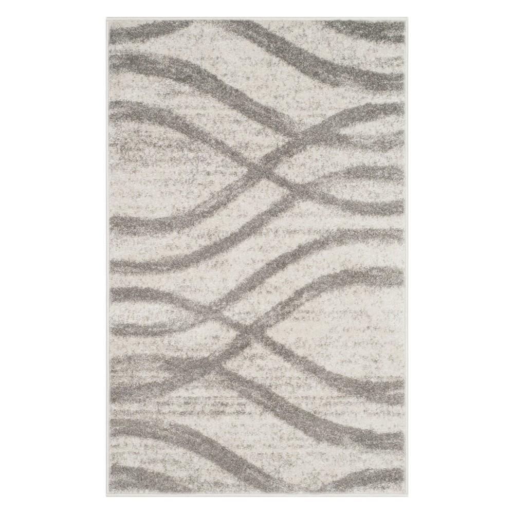3'X5' Wave Accent Rug Cream/Gray - Safavieh, Gray Off-White