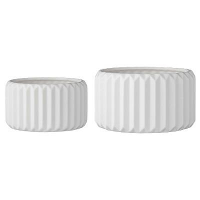 2pc Ceramic Flower Pot Set White - 3R Studios