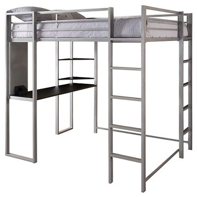 Adele Loft Bed With Desk (Full) Silver   Room U0026 Joy