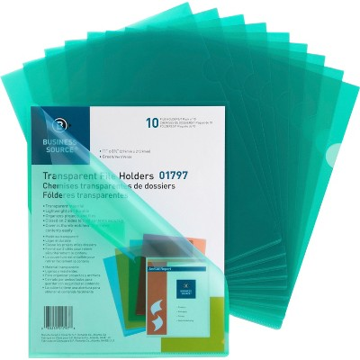 """Business Source File Holders Poly Transparent 11""""x8-1/2"""" 10/PK Green 01797"""