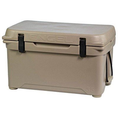 Engel High Performance 35-Quart Portable Seamless Rotomolded Airtight 36 Can Hard Cooler and Ice Box for Camping, Sports Events, and Fishing, Tan