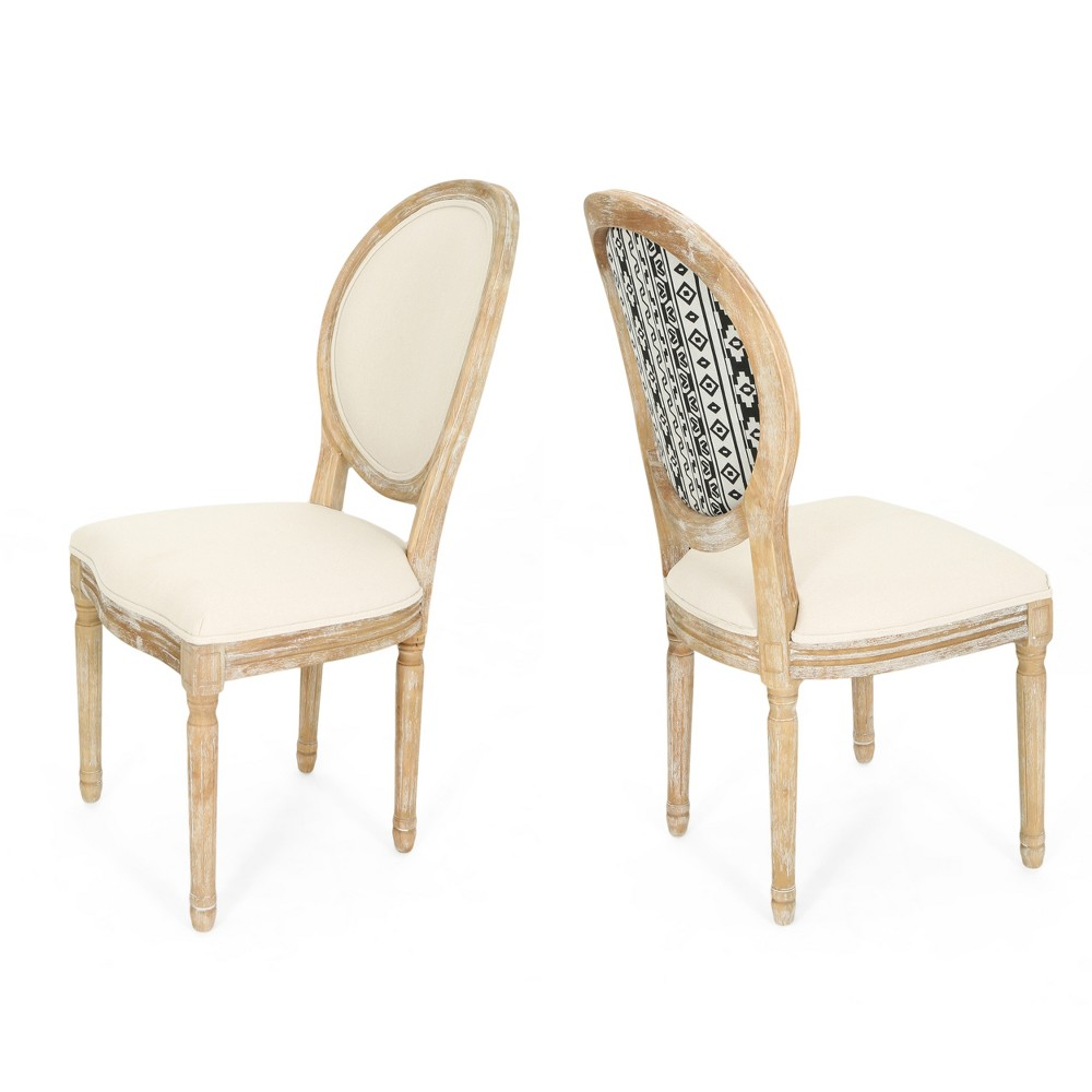Phinnaeus Set of 2 Farmhouse Dining Chair Beige - Christopher Knight Home
