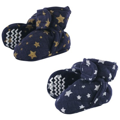 Hudson Baby Baby and Toddler Quilted Booties, Metallic Stars