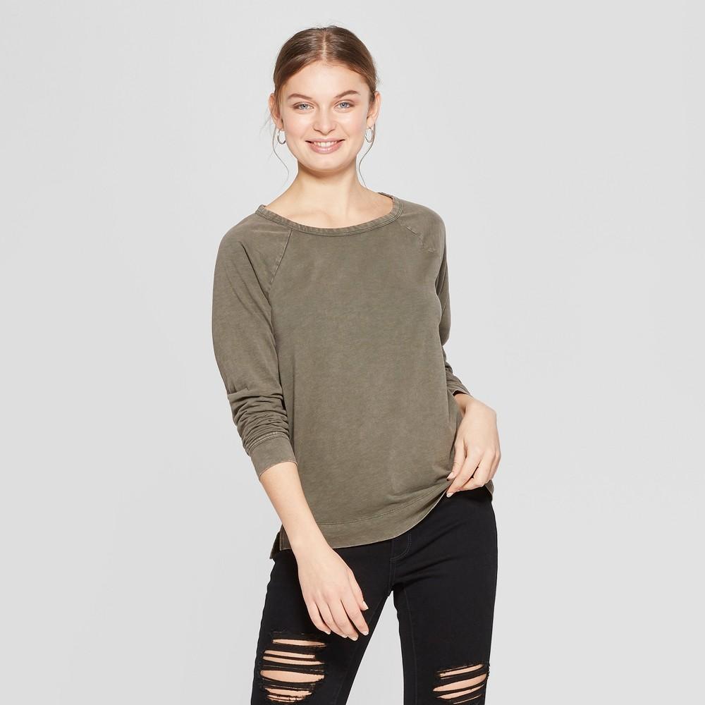 0839c90d5ce Womens Long Sleeve Crew Neck T Shirt Universal Thread Olive Green S