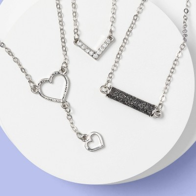 Kids' 3pk Glitter Heart Drop Necklace Set - More Than Magic™