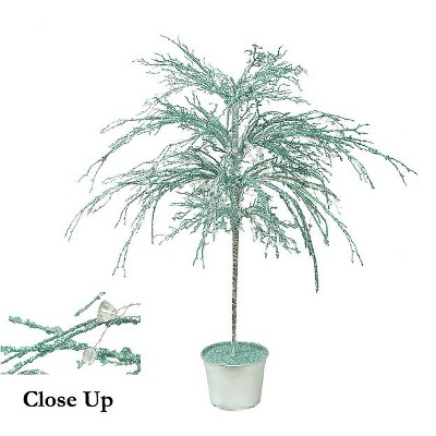 CMI 3.75' Unlit Artificial Christmas Tree Potted Teal/Silver Crystallized Glitter Mirrors and Beads