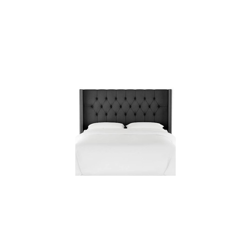 Queen Louis Diamond Tufted Wingback Headboard Dark Gray Velvet with Silver Nail Buttons - Skyline Furniture
