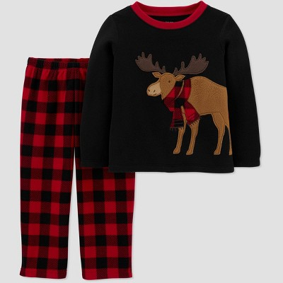 Toddler Boys' Moose & Buffalo Check Pajama Set - Just One You® made by carter's Black/Red 12M