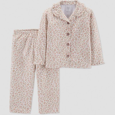 Baby Girls' Leopard Print Coat Pajama Set - Just One You® made by carter's Brown 18M