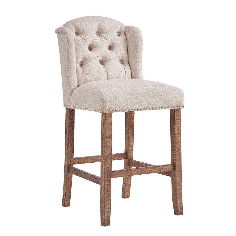 29 Set of 2 Casandra Button Tufted Wingback Barstool Oatmeal Brown - Inspire Q