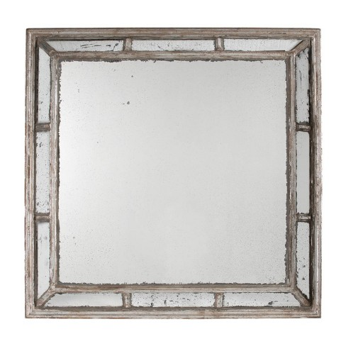 Irving Square Framed Mirror Antique White - A&B Home - image 1 of 1