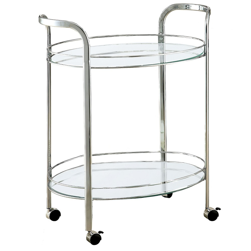 ioHomes Derria Oval Mirrored Serving Cart - Chrome, White
