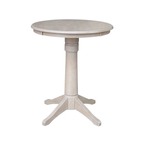 Solid Wood Round Pedestal Dining Table Weathered Gray - International Concepts - image 1 of 5