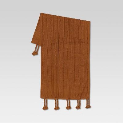 "50""x60"" Braided Tassel Knit Throw Blanket Caramel - Threshold™"