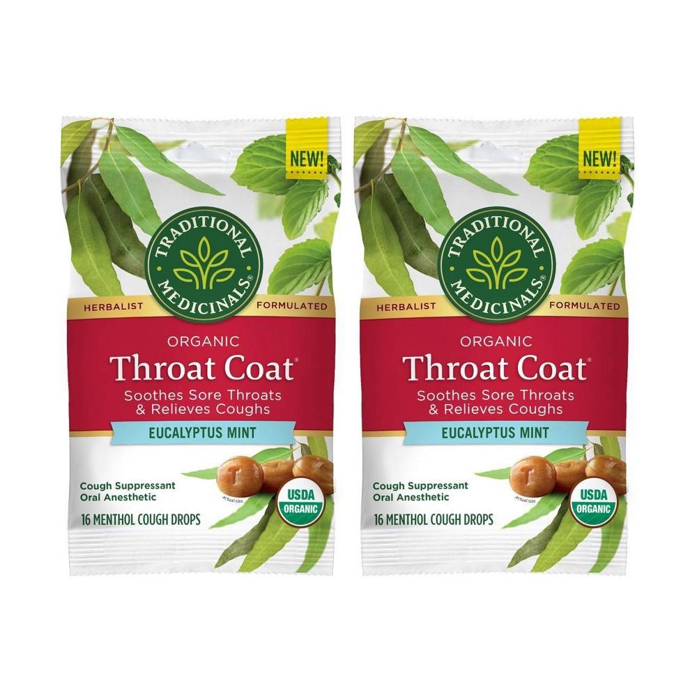 Traditional Medicinals Throat Coat Eucalyptus Mint Lozenges 2pk 16ct