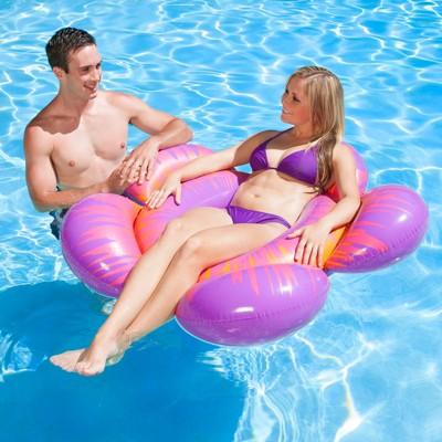 "Swim Central 56"" Flower Burst Bloomin 1-Person Swimming Pool Inner Tube - Purple/Pink"