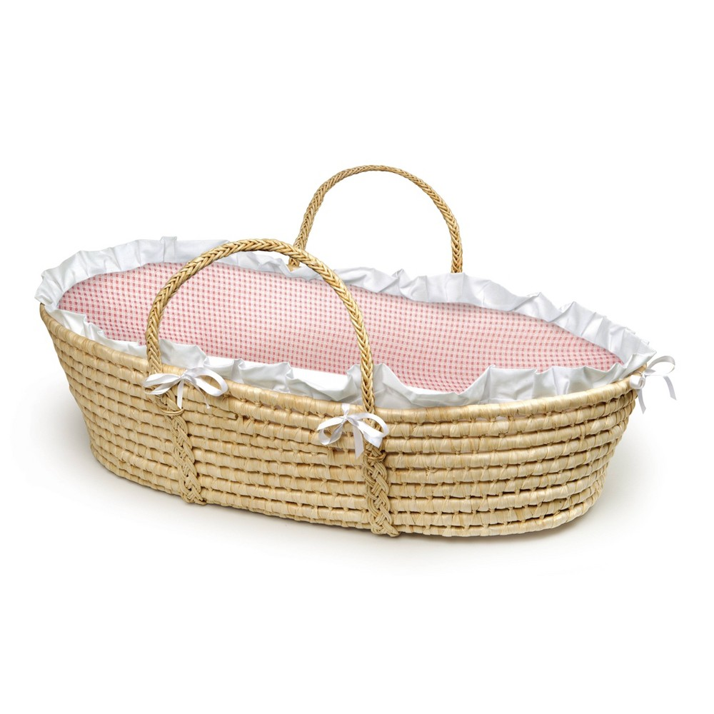 Badger Basket Natural Moses Basket Bedding - Pink Gingham Badger Basket's precious Moses Basket allows your infant to snooze near you wherever you are at home or when visiting friends. Everything you need is in the box to dress the basket with the cozy bedding and be ready for Baby's first days at home. Machine washable fabrics. Spot clean basket and wipe clean pad. Color: Pink. Gender: Female.