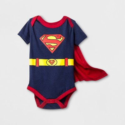 Baby Boys' DC Comics Superman Short Sleeve Bodysuit with Cape - Blue 3-6M